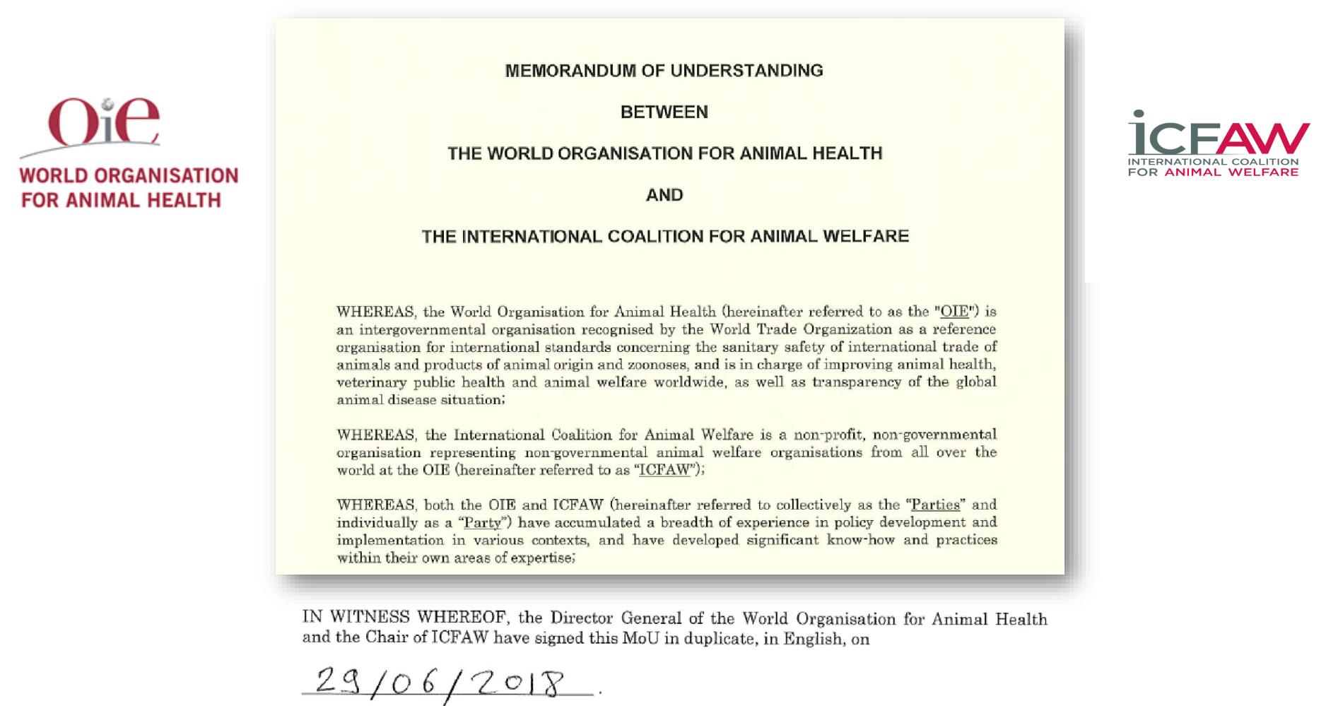 شکل 2 توافق نامه سال 2018 بین OIE وICFAW